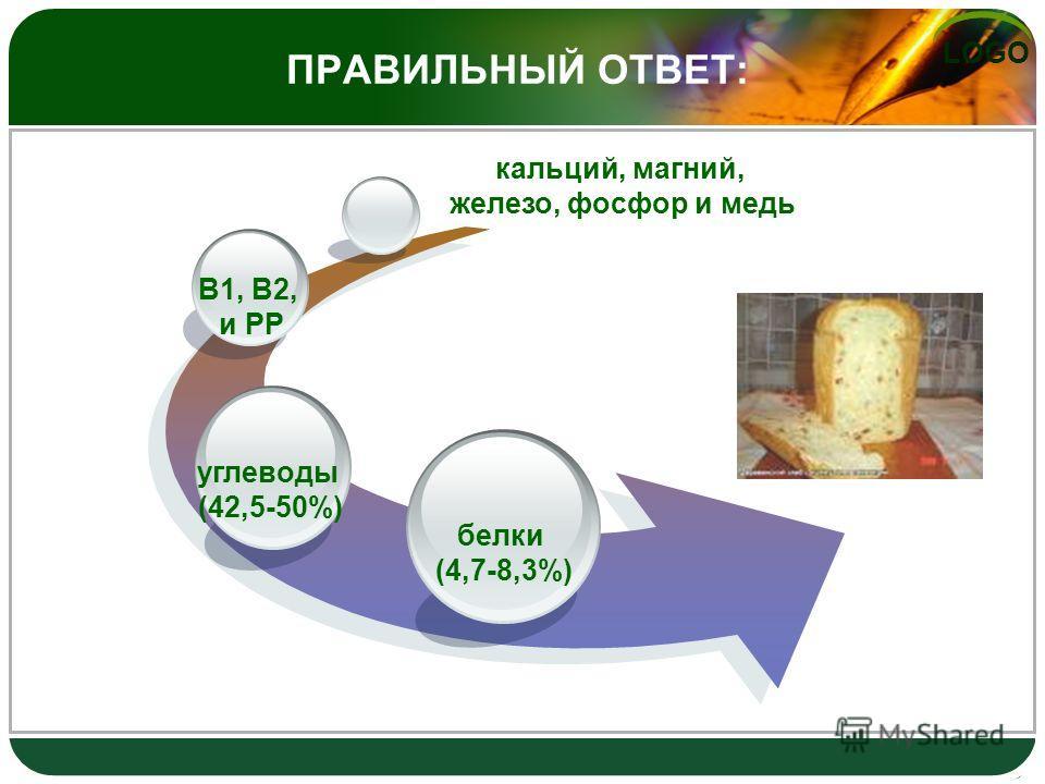 LOGO ПРАВИЛЬНЫЙ ОТВЕТ: белки (4,7-8,3%) углеводы (42,5-50%) В1, В2, и РР кальций, магний, железо, фосфор и медь