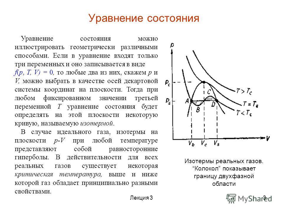 Уравнение состояния можно иллюстрировать геометрически различными способами. Если в уравнение входят только три переменных и оно записывается в виде f(p, Т, V) = 0, то любые два из них, скажем p и V, можно выбрать в качестве осей декартовой системы к
