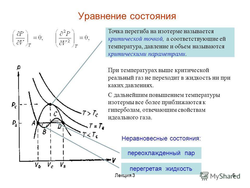 Точка перегиба на изотерме называется критической точкой, а соответствующие ей температура, давление и объем называются критическими параметрами. Уравнение состояния При температурах выше критической реальный газ не переходит в жидкость ни при каких