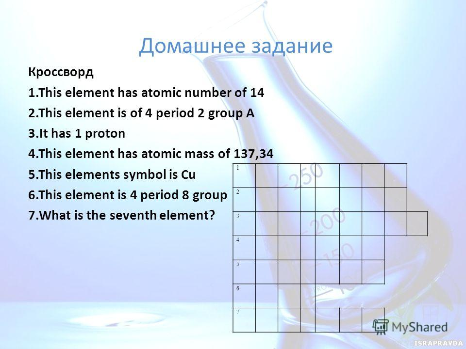 Домашнее задание Кроссворд 1. This element has atomic number of 14 2. This element is of 4 period 2 group A 3. It has 1 proton 4. This element has atomic mass of 137,34 5. This elements symbol is Cu 6. This element is 4 period 8 group 7. What is the