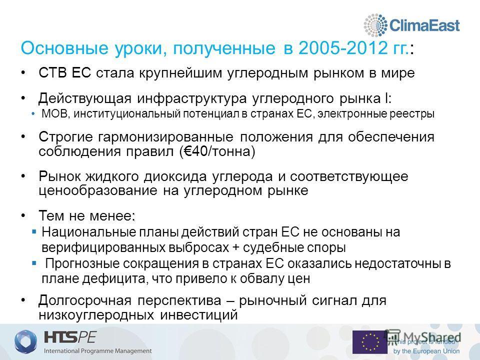 Основные уроки, полученные в 2005-2012 гг.: СТВ ЕС стала крупнейшим углеродным рынком в мире Действующая инфраструктура углеродного рынка l: МОВ, институциональный потенциал в странах ЕС, электронные реестры Строгие гармонизированные положения для об