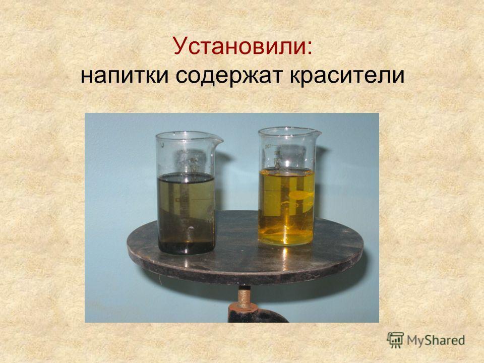Определение красителей 25 мл. напитка налить в химический стакан; Добавить туда же 25 мл воды для разбавления; Добавить 2 шпателя активированного угля; Нагреть в течении 10 минут; Отфильтровать уголь; Сравнить цвет полученного фильтрата и исходного а
