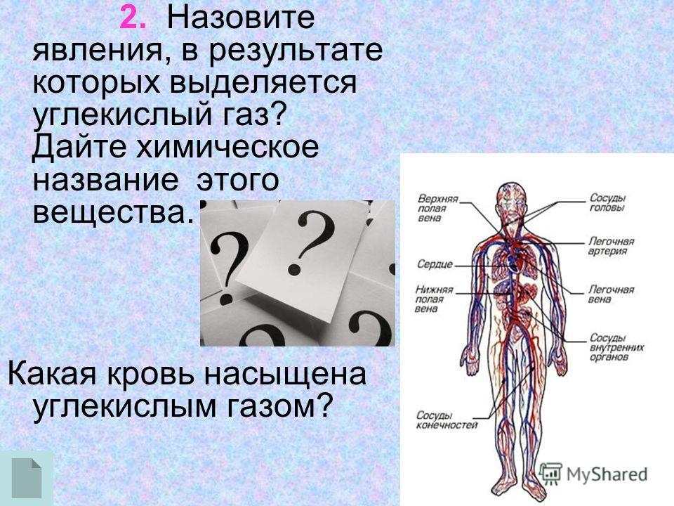 2. Назовите явления, в результате которых выделяется углекислый газ? Дайте химическое название этого вещества. Какая кровь насыщена углекислым газом?