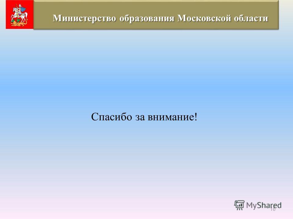 Спасибо за внимание! 18 Министерство образования Московской области