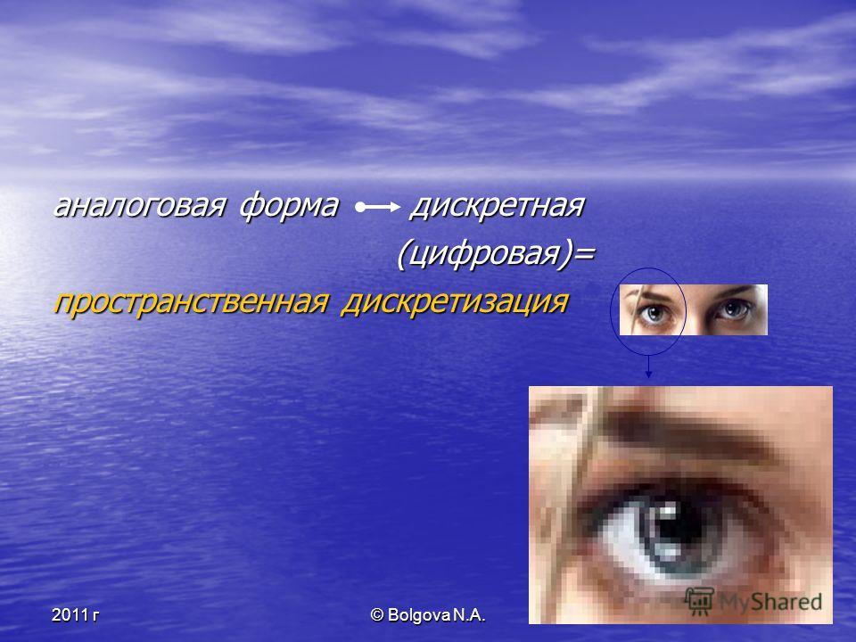 2011 г© Bolgova N.A.3 аналоговая форма дискретная (цифровая)= (цифровая)= пространственная дискретизация