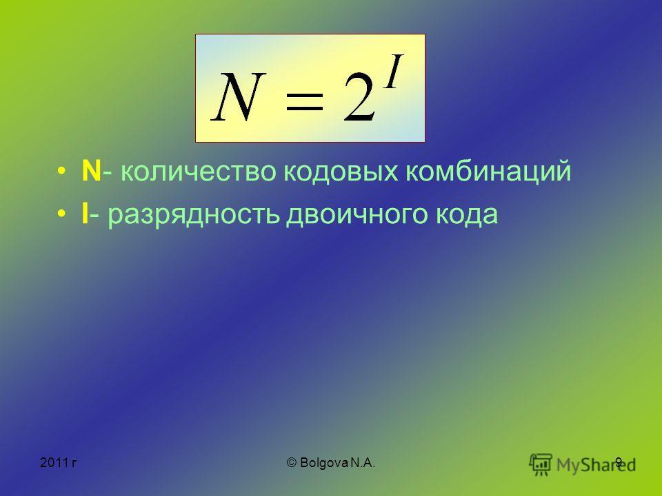 2011 г© Bolgova N.A.9 N- количество кодовых комбинаций I- разрядность двоичного кода