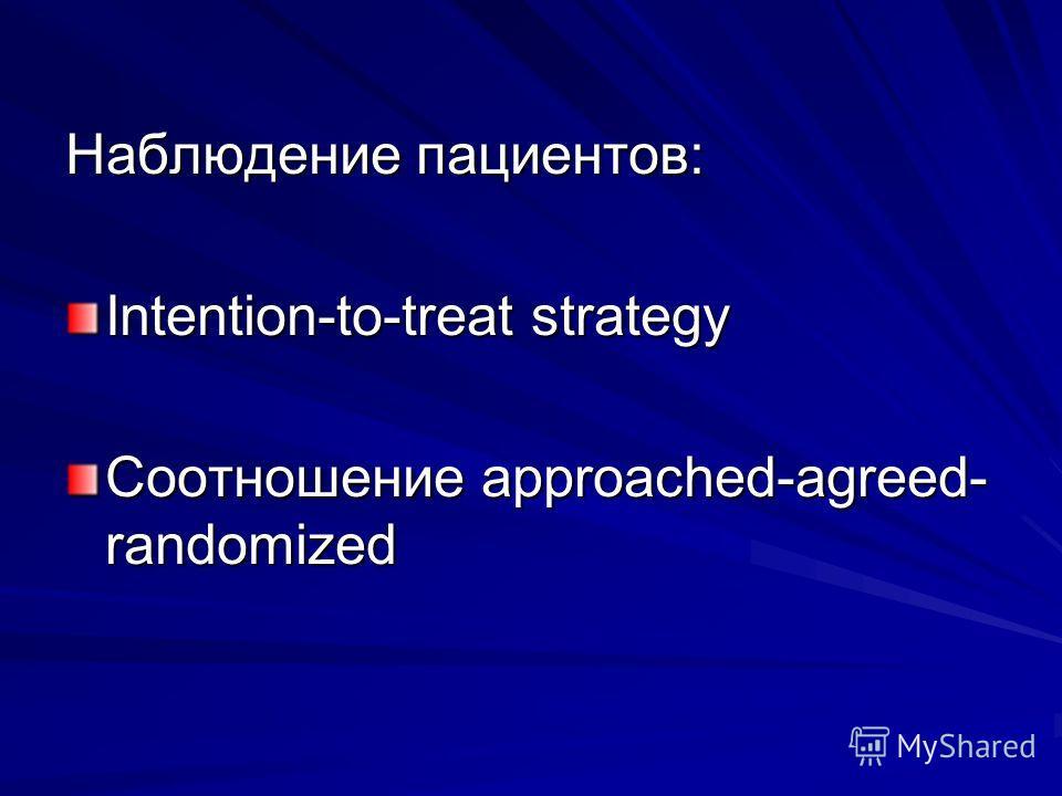 Наблюдение пациентов: Intention-to-treat strategy Соотношение approached-agreed- randomized