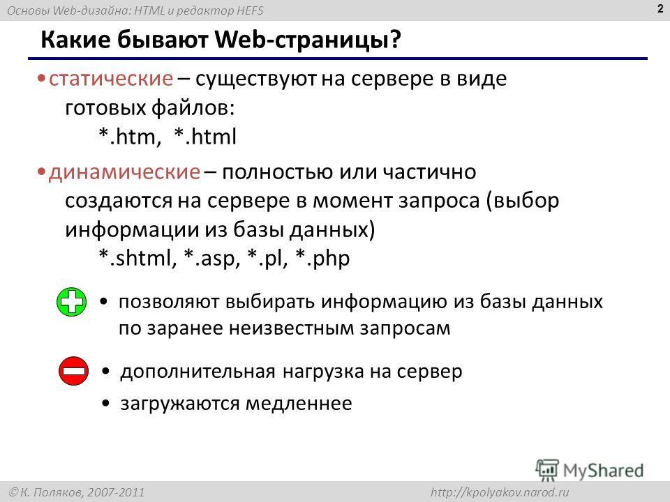 Основы Web-дизайна: HTML и редактор HEFS К. Поляков, 2007-2011 http://kpolyakov.narod.ru 2 Какие бывают Web-страницы? статические – существуют на сервере в виде готовых файлов: *.htm, *.html динамические – полностью или частично создаются на сервере