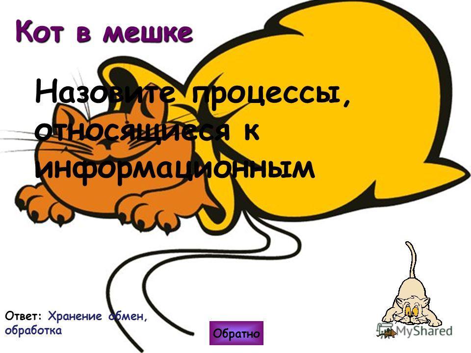 Кот в мешке Ответ: Хранение обмен, обработка Обратно Назовите процессы, относящиеся к информационным