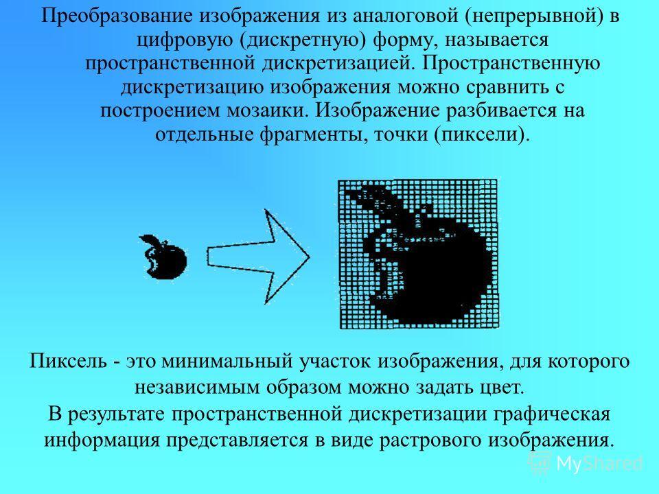 Преобразование изображения из аналоговой (непрерывной) в цифровую (дискретную) форму, называется пространственной дискретизацией. Пространственную дискретизацию изображения можно сравнить с построением мозаики. Изображение разбивается на отдельные фр