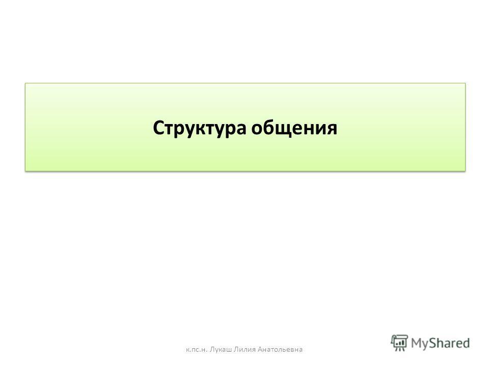 Структура общения к.пс.н. Лукаш Лилия Анатольевна