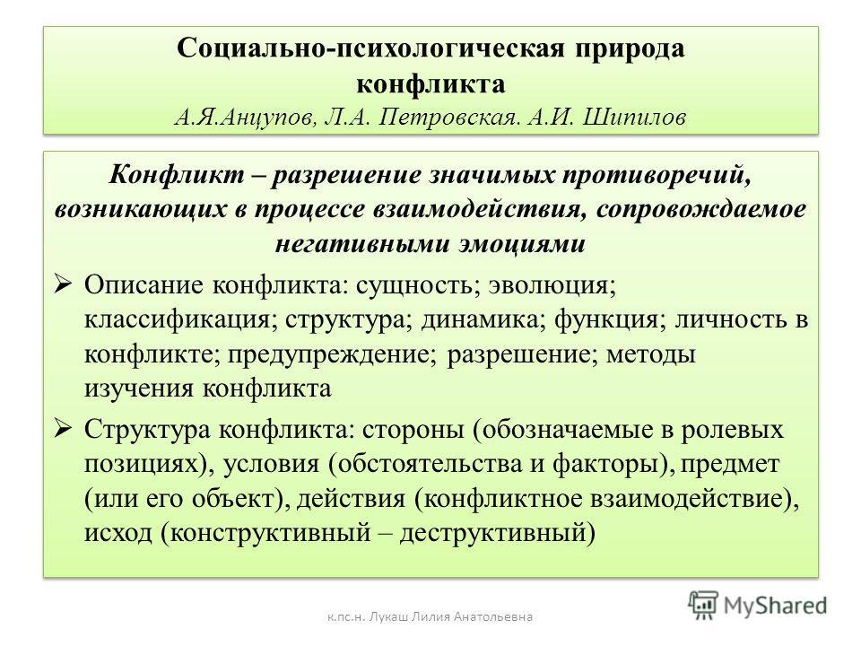 Социально-психологическая природа конфликта А.Я.Анцупов, Л.А. Петровская. А.И. Шипилов Конфликт – разрешение значимых противоречий, возникающих в процессе взаимодействия, сопровождаемое негативными эмоциями Описание конфликта: сущность; эволюция; кла