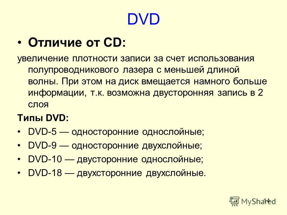 14 DVD Отличие от CD: увеличение плотности записи за счет использования полупроводникового лазера с меньшей длиной волны. При этом на диск вмещается намного больше информации, т.к. возможна двусторонняя запись в 2 слоя Типы DVD: DVD-5 односторонние о