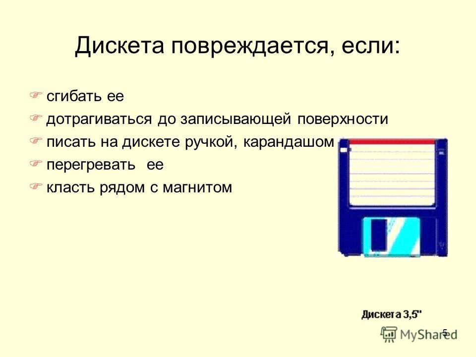 5 Дискета повреждается, если: сгибать ее дотрагиваться до записывающей поверхности писать на дискете ручкой, карандашом перегревать ее класть рядом с магнитом