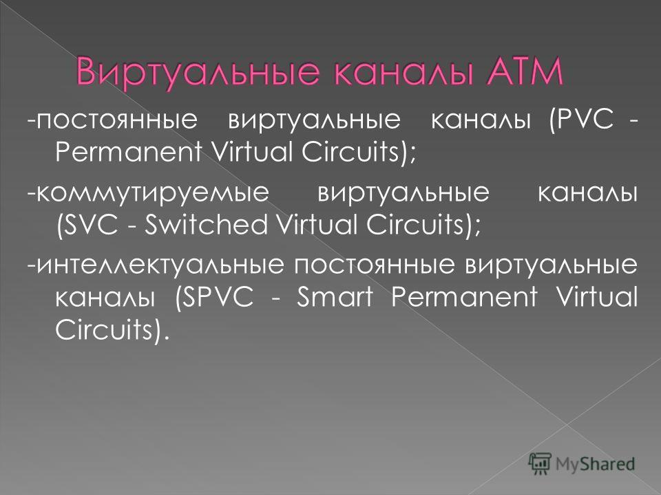 -постоянные виртуальные каналы (PVC - Permanent Virtual Circuits); -коммутируемые виртуальные каналы (SVC - Switched Virtual Circuits); -интеллектуальные постоянные виртуальные каналы (SPVC - Smart Permanent Virtual Circuits).