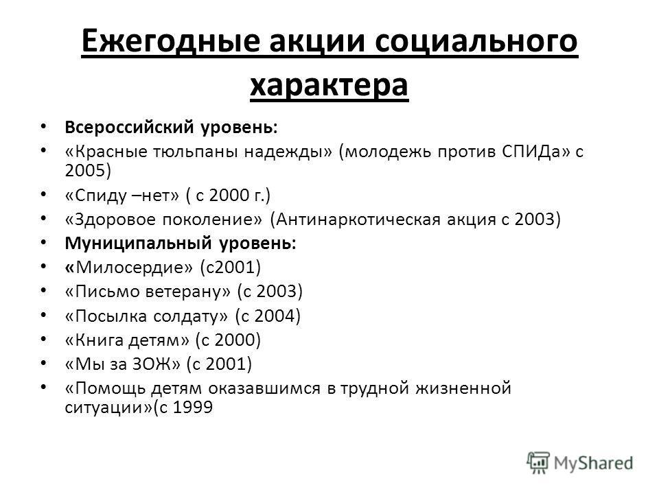 Ежегодные акции социального характера Всероссийский уровень: «Красные тюльпаны надежды» (молодежь против СПИДа» с 2005) «Спиду –нет» ( с 2000 г.) «Здоровое поколение» (Антинаркотическая акция с 2003) Муниципальный уровень: «Милосердие» (с 2001) «Пись