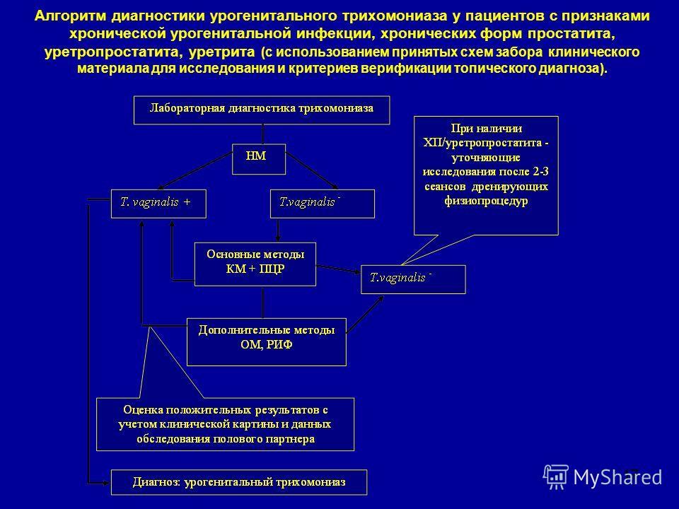 17 Алгоритм диагностики урогенитального трихомониаза у пациентов с признаками хронической урогенитальной инфекции, хронических форм простатита, уретропростатита, уретрита (с использованием принятых схем забора клинического материала для исследования