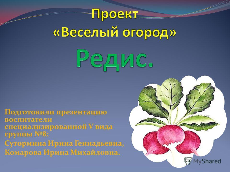 Подготовили презентацию воспитатели специализированной V вида группы 8: Сутормина Ирина Геннадьевна, Комарова Ирина Михайловна.