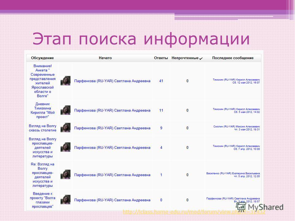 Этап поиска информации http://iclass.home-edu.ru/mod/forum/view.php?f=31432