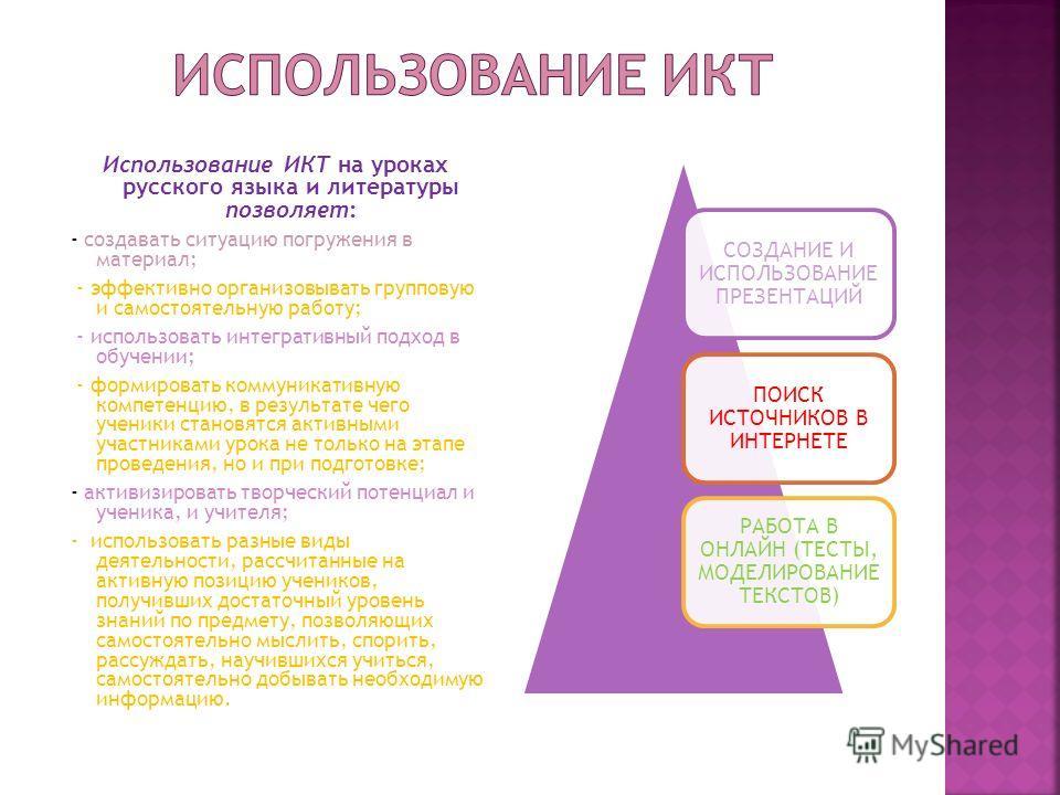 Использование ИКТ на уроках русского языка и литературы позволяет: - создавать ситуацию погружения в материал; - эффективно организовывать групповую и самостоятельную работу; - использовать интегративный подход в обучении; - формировать коммуникативн