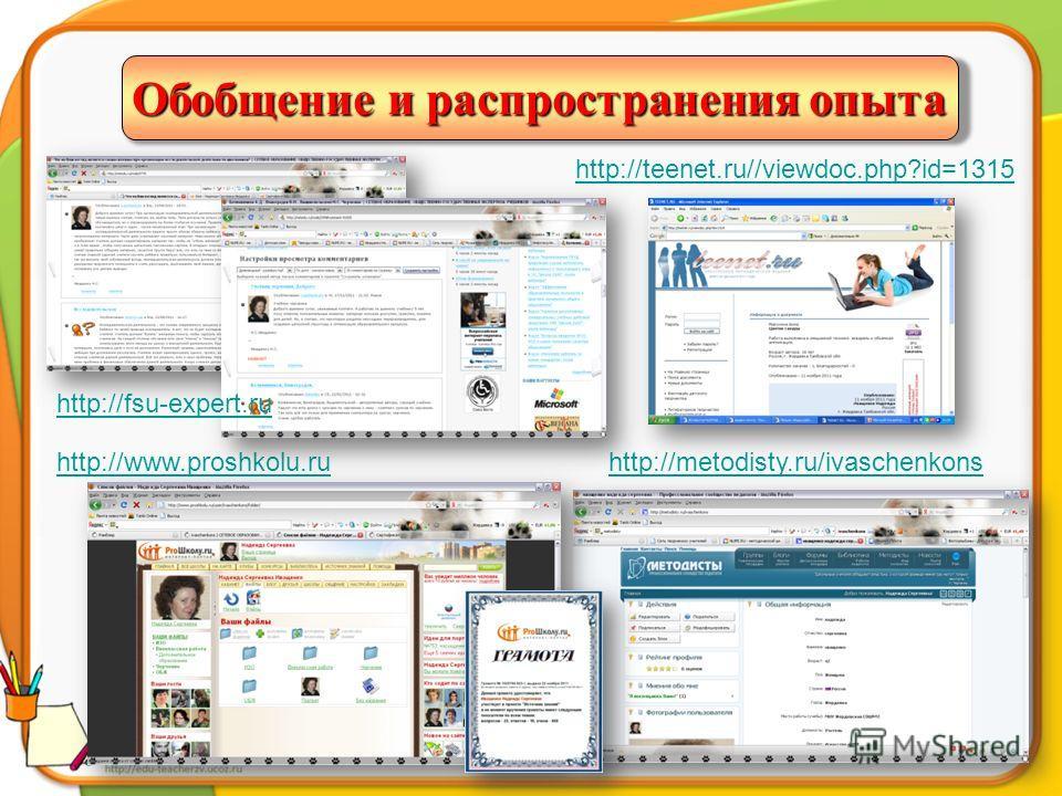 http://metodisty.ru/ivaschenkonshttp://www.proshkolu.ru Обобщение и распространения опыта http://fsu-expert.ru http://teenet.ru//viewdoc.php?id=1315