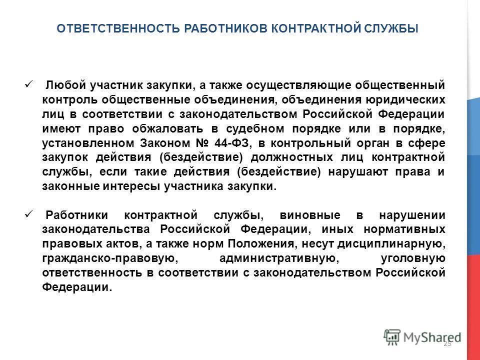 ОТВЕТСТВЕННОСТЬ РАБОТНИКОВ КОНТРАКТНОЙ СЛУЖБЫ Любой участник закупки, а также осуществляющие общественный контроль общественные объединения, объединения юридических лиц в соответствии с законодательством Российской Федерации имеют право обжаловать в