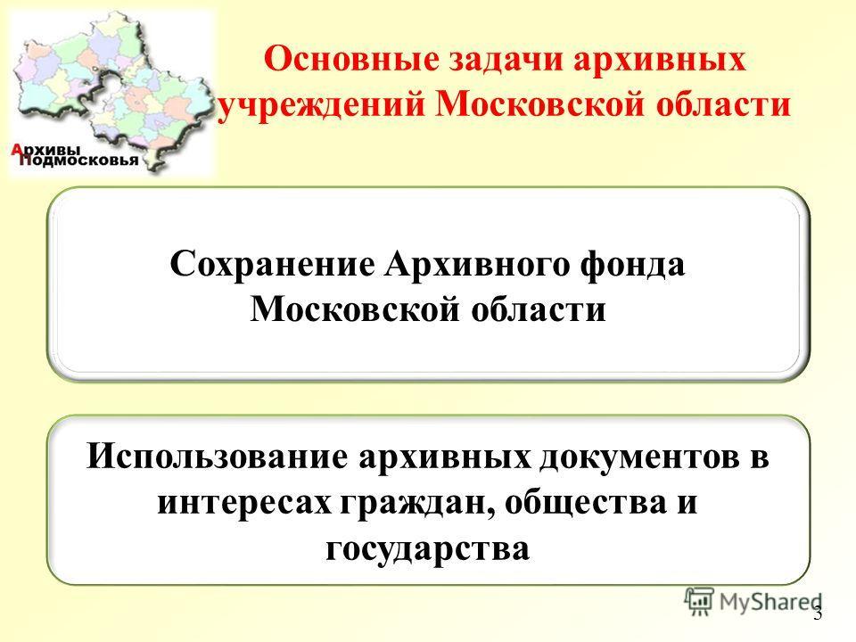 3 Основные задачи архивных учреждений Московской области Сохранение Архивного фонда Московской области Использование архивных документов в интересах граждан, общества и государства