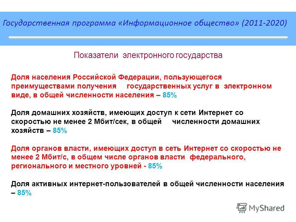 Государственная программа «Информационное общество» (2011-2020) Показатели электронного государства Доля населения Российской Федерации, пользующегося преимуществами получения государственных услуг в электронном виде, в общей численности населения –