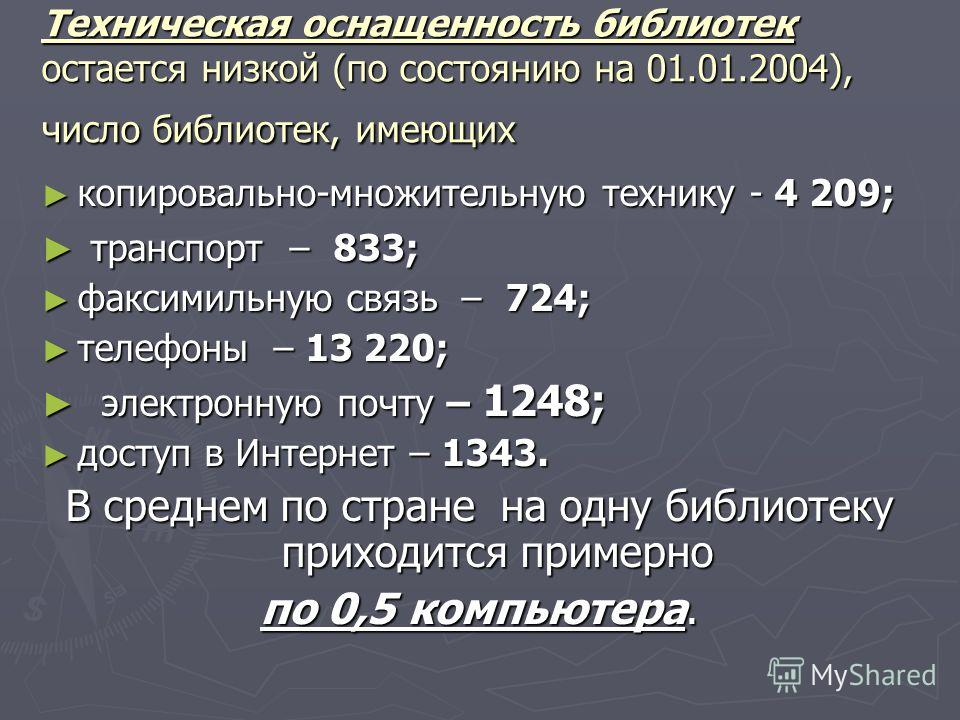 Техническая оснащенность библиотек остается низкой (по состоянию на 01.01.2004), число библиотек, имеющих копировально-множительную технику - 4 209; копировально-множительную технику - 4 209; транспорт – 833; транспорт – 833; факсимильную связь – 724