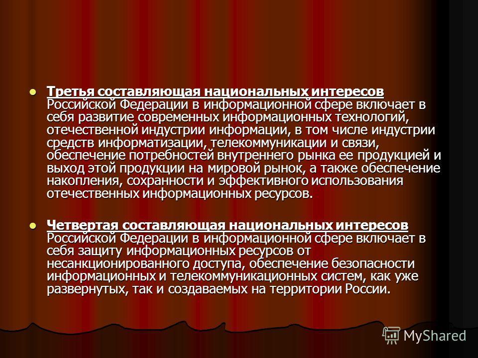 Третья составляющая национальных интересов Российской Федерации в информационной сфере включает в себя развитие современных информационных технологий, отечественной индустрии информации, в том числе индустрии средств информатизации, телекоммуникации