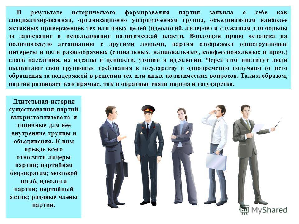 В результате исторического формирования партия заявила о себе как специализированная, организационно упорядоченная группа, объединяющая наиболее активных приверженцев тех или иных целей (идеологий, лидеров) и служащая для борьбы за завоевание и испол