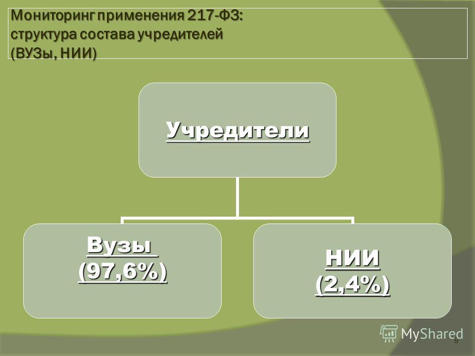 9 Мониторинг применения 217-ФЗ: структура состава учредителей (ВУЗы, НИИ) Учредители Вузы(97,6%)НИИ(2,4%)