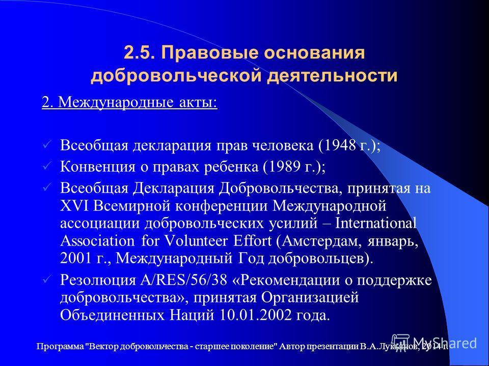 2.5. Правовые основания добровольческой деятельности 2. Международные акты: Всеобщая декларация прав человека (1948 г.); Конвенция о правах ребенка (1989 г.); Всеобщая Декларация Добровольчества, принятая на XVI Всемирной конференции Международной ас