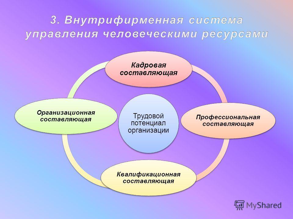 Трудовой потенциал организации Кадровая составляющая Профессиональная составляющая Квалификационная составляющая Организационная составляющая