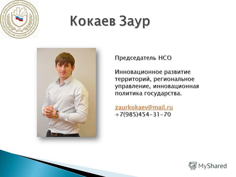 Председатель НСО Инновационное развитие территорий, региональное управление, инновационная политика государства. zaurkokaev@mail.ru +7(985)454-31-70