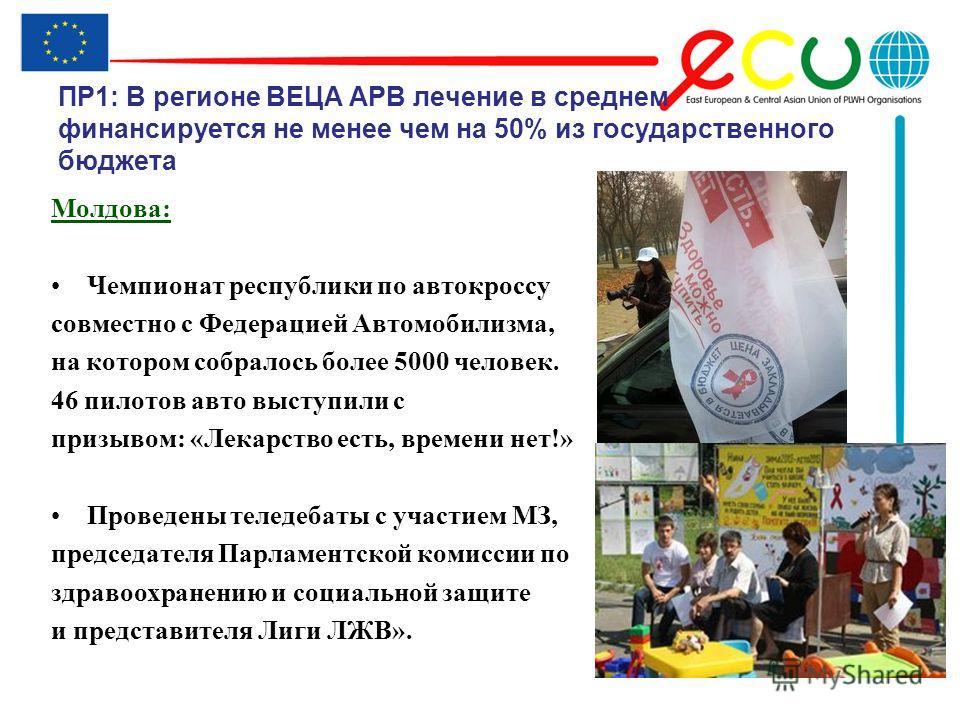 ПР1: В регионе ВЕЦА АРВ лечение в среднем финансируется не менее чем на 50% из государственного бюджета Молдова: Чемпионат республики по автокроссу совместно с Федерацией Автомобилизма, на котором собралось более 5000 человек. 46 пилотов авто выступи