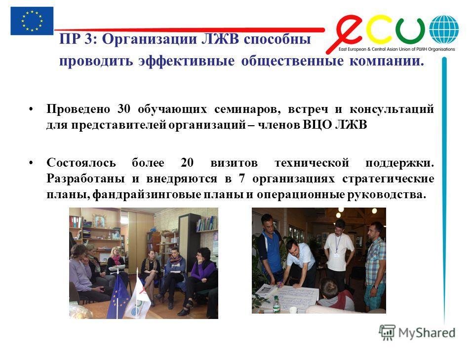 ПР 3: Организации ЛЖВ способны проводить эффективные общественные компании. Проведено 30 обучающих семинаров, встреч и консультаций для представителей организаций – членов ВЦО ЛЖВ Состоялось более 20 визитов технической поддержки. Разработаны и внедр