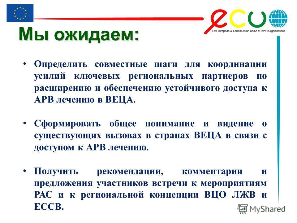 Мы ожидаем: Определить совместные шаги для координации усилий ключевых региональных партнеров по расширению и обеспечению устойчивого доступа к АРВ лечению в ВЕЦА. Сформировать общее понимание и видение о существующих вызовах в странах ВЕЦА в связи с