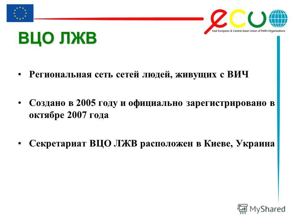 ВЦО ЛЖВ Региональная сеть сетей людей, живущих с ВИЧ Создано в 2005 году и официально зарегистрировано в октябре 2007 года Секретариат ВЦО ЛЖВ расположен в Киеве, Украина