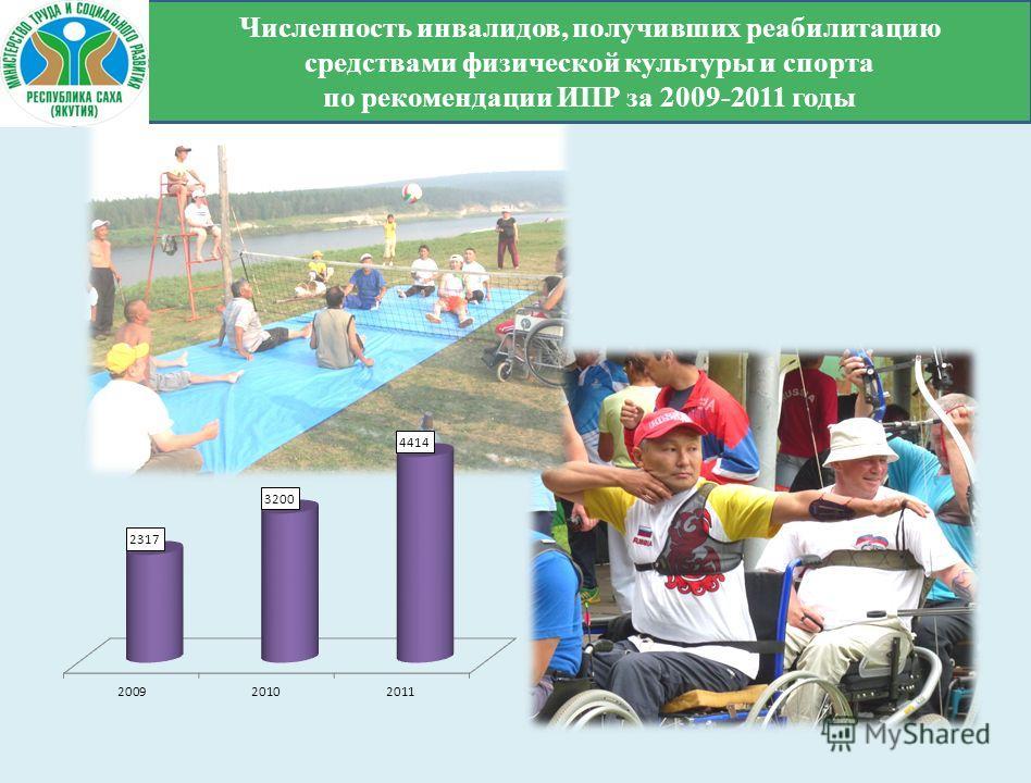 Численность инвалидов, получивших реабилитацию средствами физической культуры и спорта по рекомендации ИПР за 2009-2011 годы