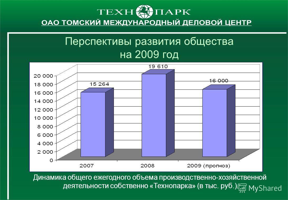 Перспективы развития общества на 2009 год Динамика общего ежегодного объема производственно-хозяйственной деятельности собственно «Технопарка» (в тыс. руб.)