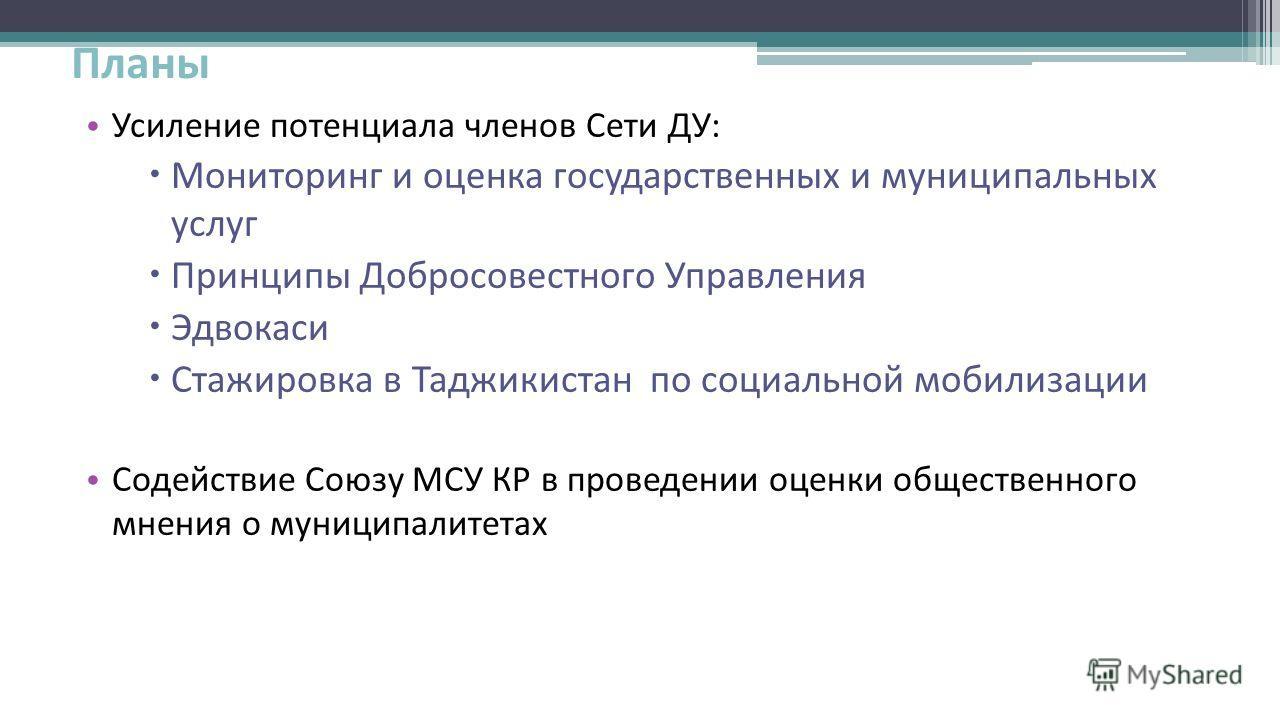 Планы Усиление потенциала членов Сети ДУ: Мониторинг и оценка государственных и муниципальных услуг Принципы Добросовестного Управления Эдвокаси Стажировка в Таджикистан по социальной мобилизации Содействие Союзу МСУ КР в проведении оценки общественн