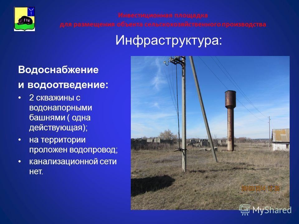 Инвестиционная площадка для размещения объекта сельскохозяйственного производства Водоснабжение и водоотведение: 2 скважины с водонапорными башнями ( одна действующая); на территории проложен водопровод; канализационной сети нет. Инфраструктура: