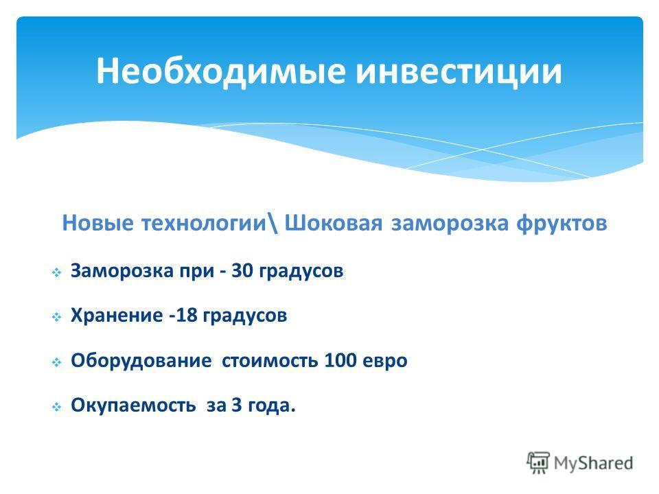 Новые технологии\ Шоковая заморозка фруктов Заморозка при - 30 градусов Хранение -18 градусов Оборудование стоимость 100 евро Окупаемость за 3 года. Необходимые инвестиции