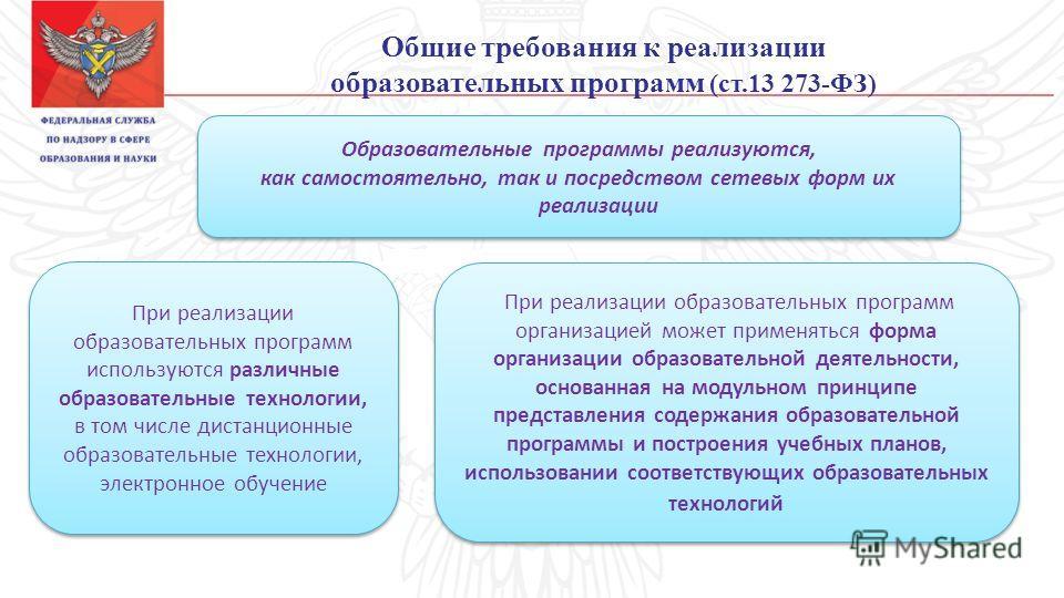 Общие требования к реализации образовательных программ (ст.13 273-ФЗ) Образовательные программы реализуются, как самостоятельно, так и посредством сетевых форм их реализации Образовательные программы реализуются, как самостоятельно, так и посредством