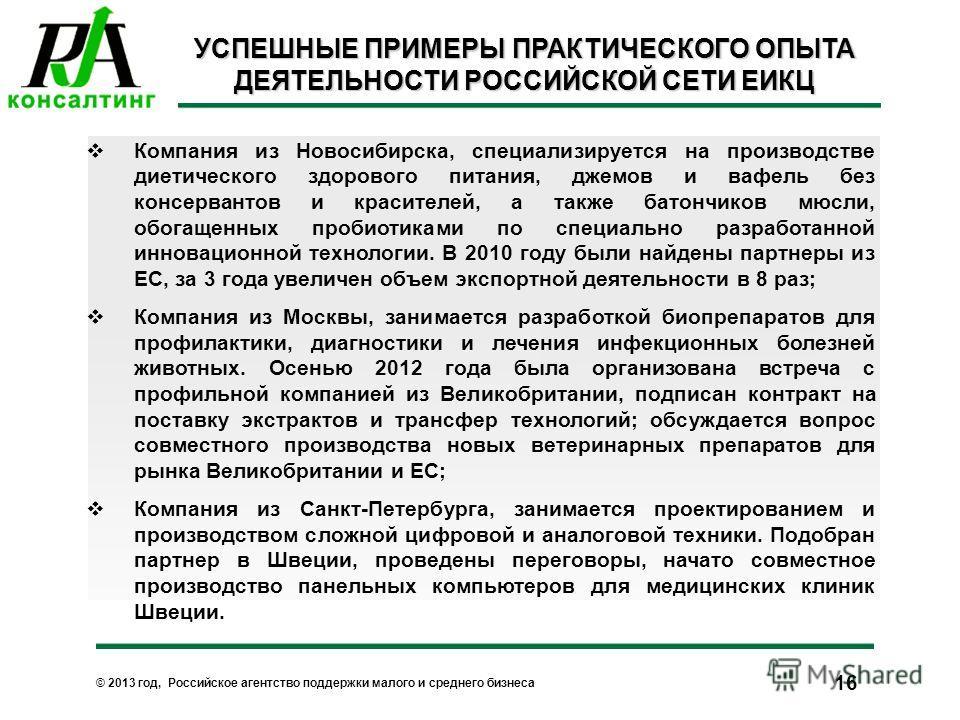 © 2013 год, Российское агентство поддержки малого и среднего бизнеса Компания из Новосибирска, специализируется на производстве диетического здорового питания, джемов и вафель без консервантов и красителей, а также батончиков мюсли, обогащенных проби