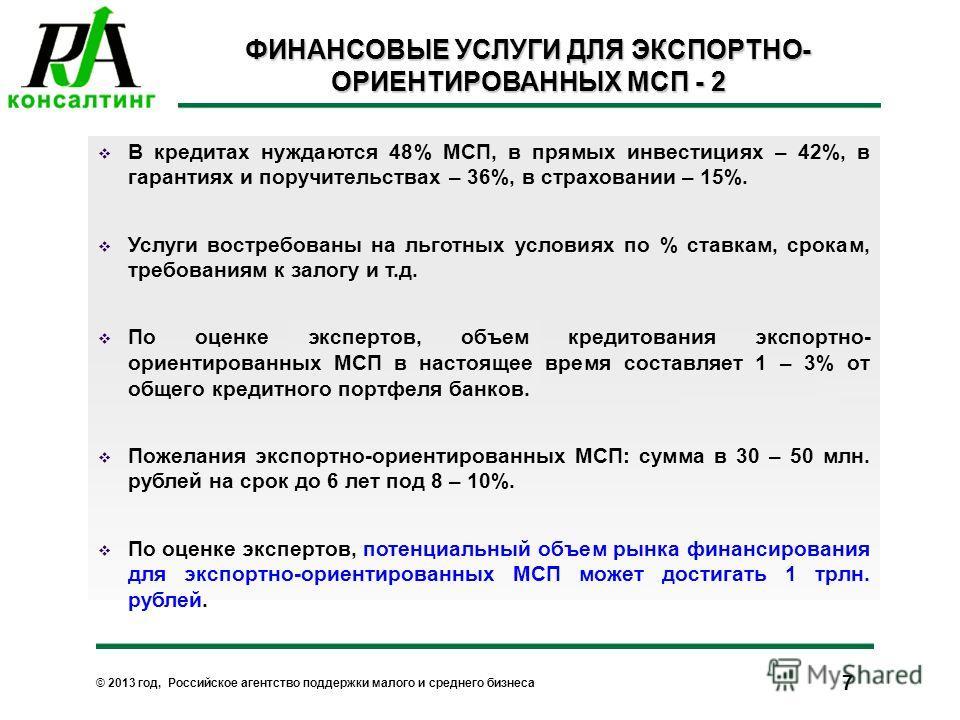 © 2013 год, Российское агентство поддержки малого и среднего бизнеса 7 ФИНАНСОВЫЕ УСЛУГИ ДЛЯ ЭКСПОРТНО- ОРИЕНТИРОВАННЫХ МСП - 2 В кредитах нуждаются 48% МСП, в прямых инвестициях – 42%, в гарантиях и поручительствах – 36%, в страховании – 15%. Услуги