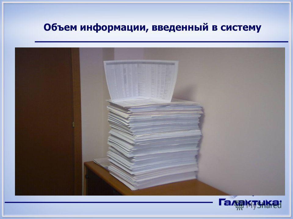 Объем информации, введенный в систему