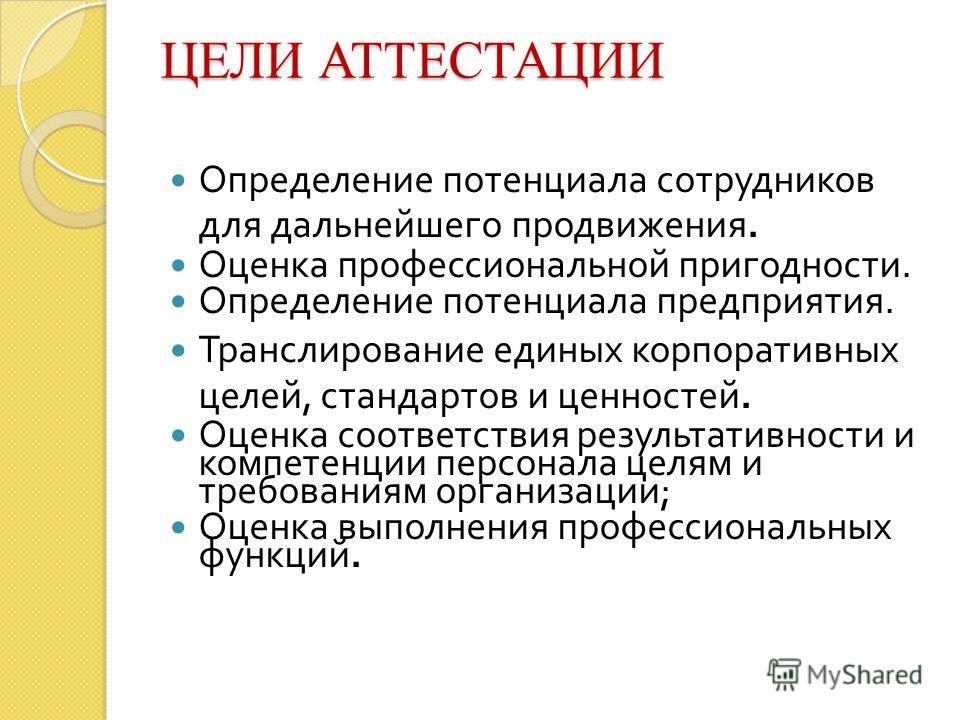 Презентация на тему Курсовая работа на тему АТТЕСТАЦИЯ ПЕРСОНАЛА  3 ЦЕЛИ АТТЕСТАЦИИ Определение