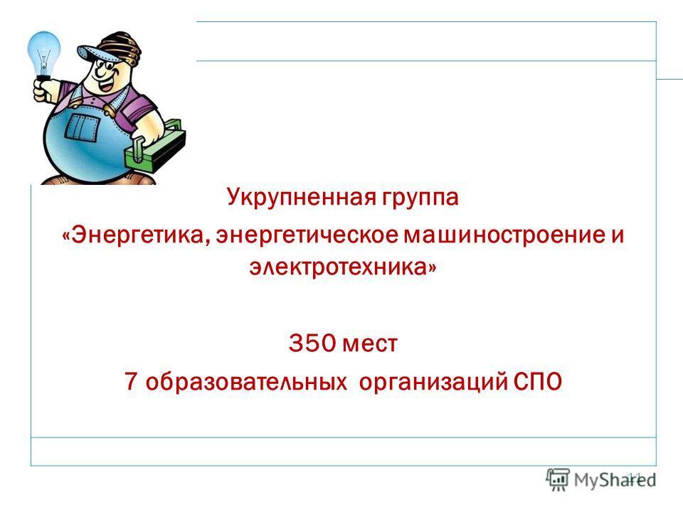 11 Укрупненная группа «Энергетика, энергетическое машиностроение и электротехника» 350 мест 7 образовательных организаций СПО